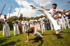 São Paulo, Brazil, 03 April 2016. Group of Brazilian capoeiristas performing at the Ibirapuera Park in São Paulo, Brazil.