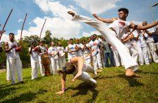 São Paulo, Brazil, 03 April 2016. Group of Brazilian capoeiristas performing at the Ibirapuera Park in São Paulo, Brazil.